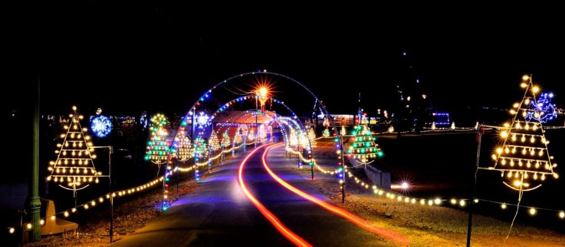 christmas lights display with a private car